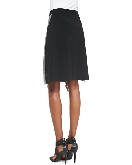 Larissa Diagonal-Pleat Combo Skirt