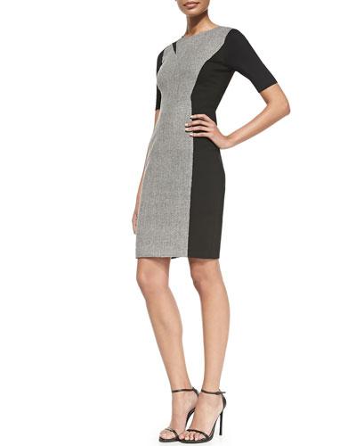 Elie Tahari Axel Short-Sleeve Combo Sheath Dress