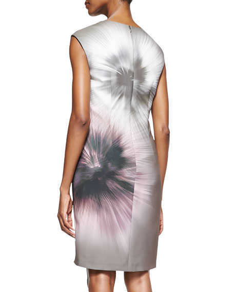 Ginger Print Side-Pleated Sheath Dress