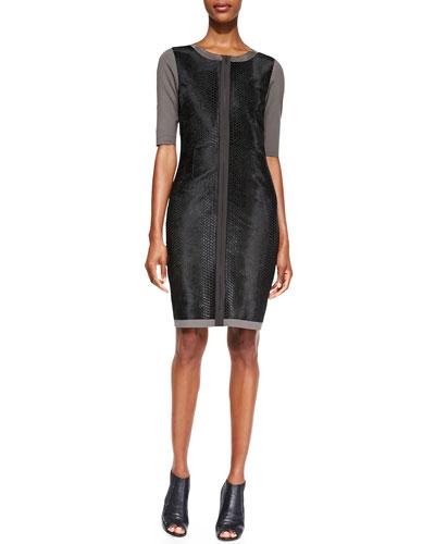 Elie Tahari Coralie Elbow-Sleeve Leather-Front Dress