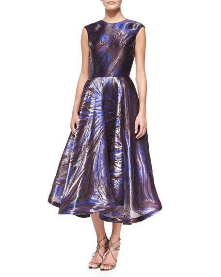 Cap-Sleeve Marble-Pattern Cocktail Dress