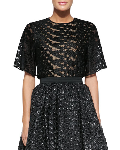 Christian Siriano Bell-Sleeve Reptile Lace Blouse