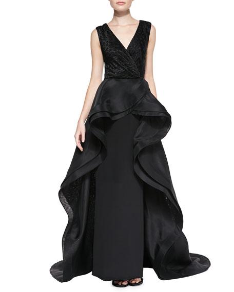 Christian Siriano Sleeveless Flounce Overlay Gown