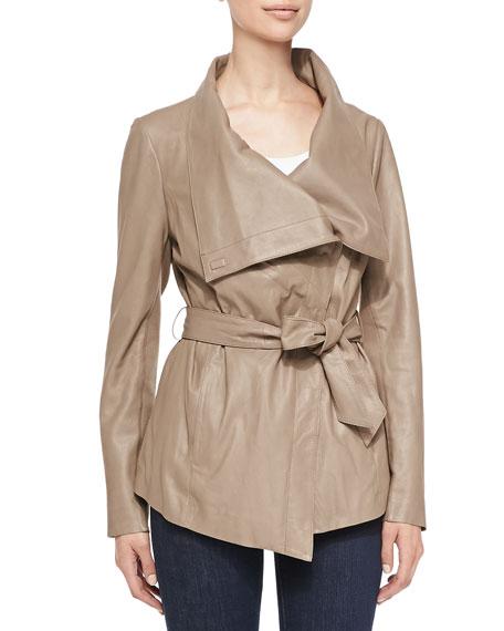 Elie Tahari Claudette Tie-Front Leather Jacket