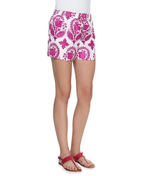 Benan Printed Drawstring Shorts, Purple