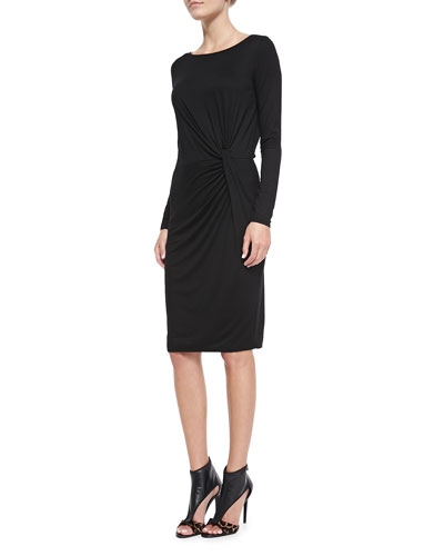 Three Dots Long-Sleeve Knot-Side Dress