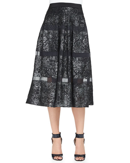Rebecca Taylor Foiled/Sheer-Stripe A-Line Midi Skirt