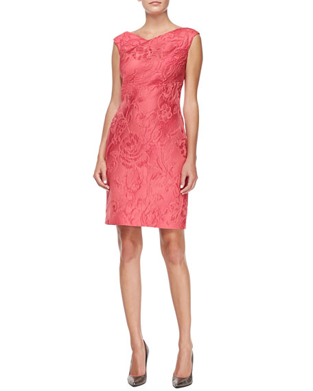Kay Unger New York Sleeveless Jacquard Cocktail Dress