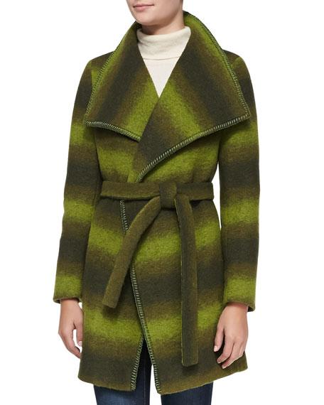 Trilogy Wool-Blend Ombre Wrap Coat