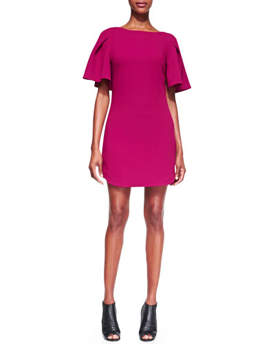 Trina Turk Bryce Flutter-Sleeve Crepe Dress
