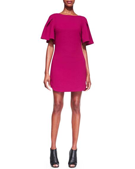 Bryce Flutter-Sleeve Crepe Dress