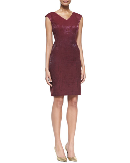 Cap-Sleeve Shimmery Sheath Dress, Cranberry