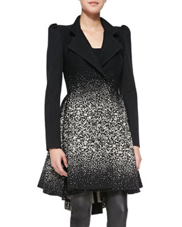 Alice + Olivia Carth Puff-Shoulder Flared Coat