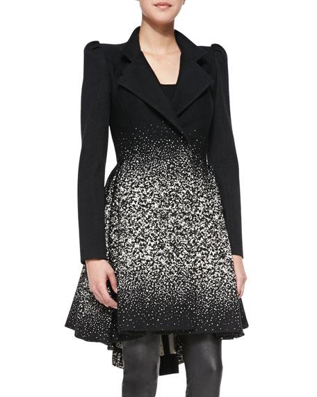 Carth Puff-Shoulder Flared Coat