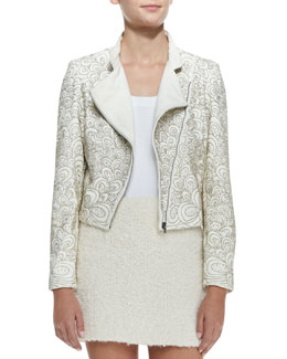 Alice + Olivia Jace Beaded Quilted Leather Moto Jacket