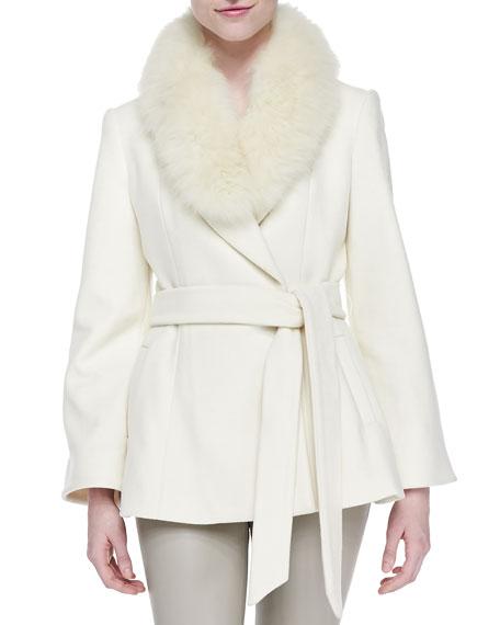 Meridian Fur-Collar Tie-Waist Coat