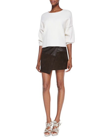 Leather/Suede Faux-Wrap Miniskirt