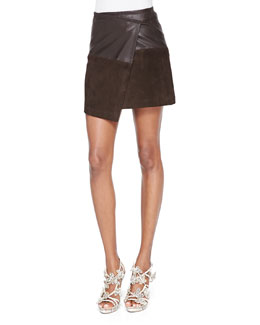 Alice + Olivia Leather/Suede Faux-Wrap Miniskirt