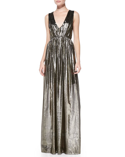 Alice + Olivia Issa Pleated V-Neck Metallic Gown