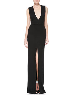 Alice + Olivia Kahlo Center Slit Maxi Dress