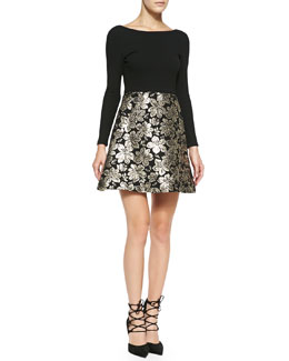 Alice + Olivia Sarah Long-Sleeve A-Line Cocktail Dress