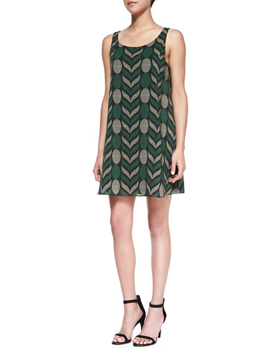 Alice + Olivia Lana Geometric-Print Voile Dress