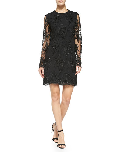 korovilas Camille Beaded Lace Dress