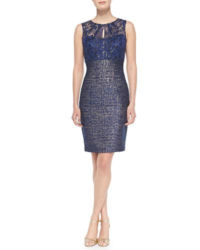 Kay Unger New York Sleeveless Lace-Top Sheath Dress