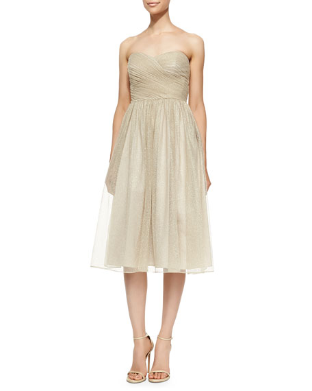 Strapless Ruched-Bodice Cocktail Dress