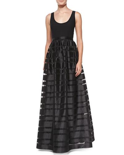 Aidan by Aidan Mattox Sleeveless Banded Skirt-Overlay Gown