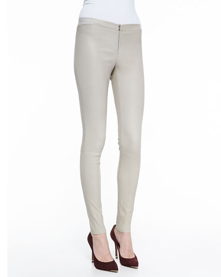 Alice + Olivia Front-Zip Leather Leggings