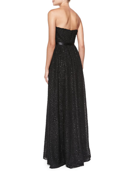 Strapless Sequined Knit Gown