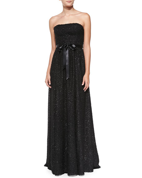 Aidan by Aidan Mattox Strapless Sequined Knit Gown