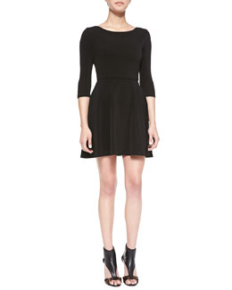 Alice + Olivia Boat-Neck Jersey Flounce Dress