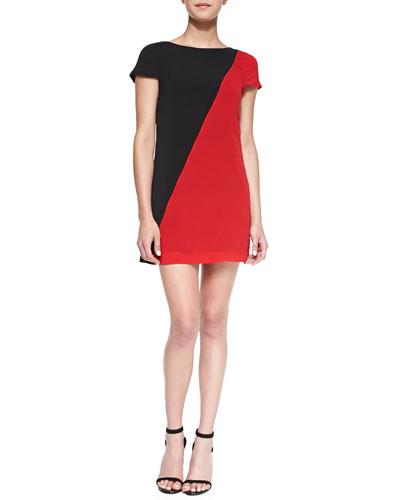 Alice + Olivia Serina Diagonal Two-Tone Dress
