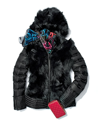 Dawn Levy Tocca Fox-Fur-Trim Puffer, Black