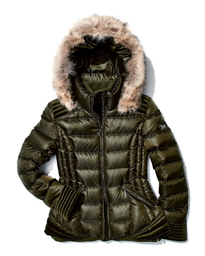 Dawn Levy Olivia Puffer Coat with Fur-Trimmed Hood