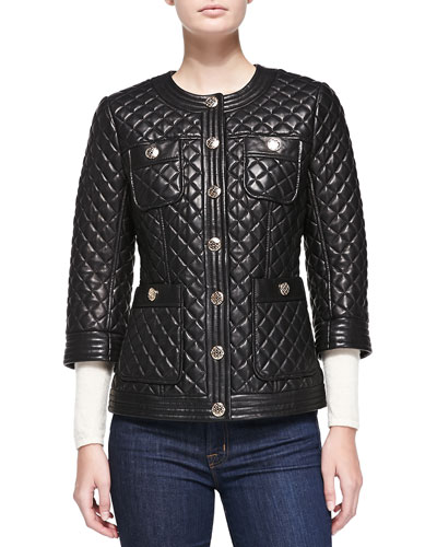Neiman Marcus Quilted Leather Jacket W/ Golden Buttons
