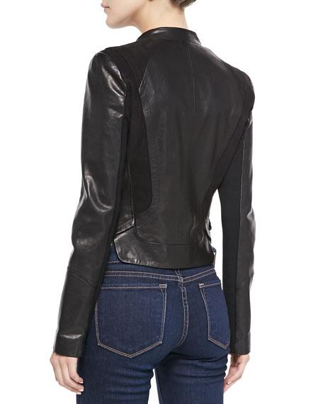 Front Ruffle Leather Jacket