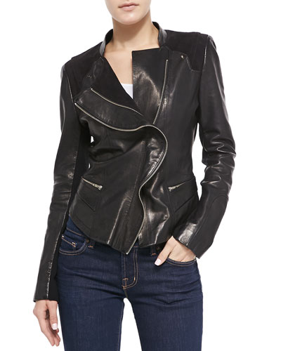 Neiman Marcus Front Ruffle Leather Jacket