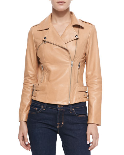 Neiman Marcus Moto Leather Jacket, Beige