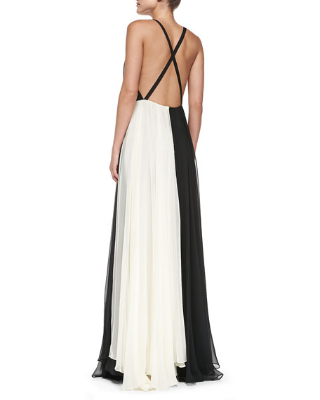 Bicolor Cross-Back Chiffon Gown