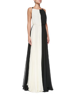 Milly Bicolor Cross-Back Chiffon Gown