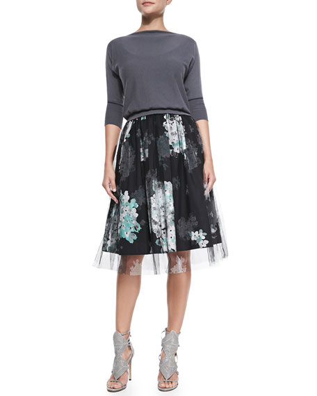 Monica Floral-Print/Tulle Skirt