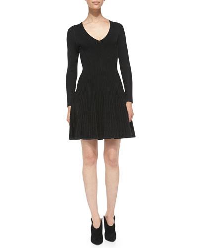 Milly Long-Sleeve Ribbed-Knit V-Neck Dress