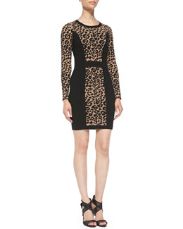 Milly Cheetah/Solid Long-Sleeve Knit Sheath Dress