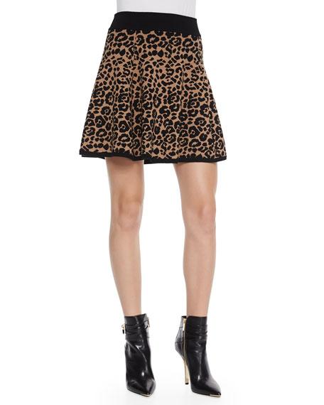 Cheetah-Jacquard Flared Skirt