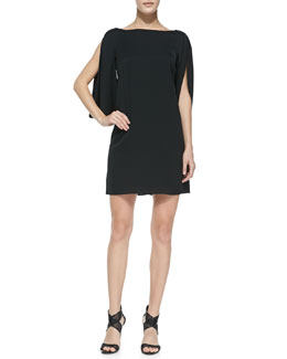 Milly Monarch Silk Slit-Sleeve Dress