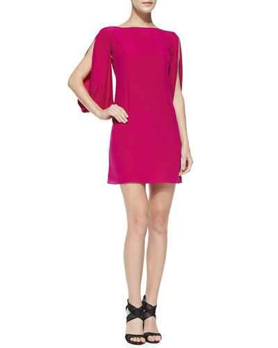 Milly Monarch Silk Slit-Sleeve Dress, Raspberry