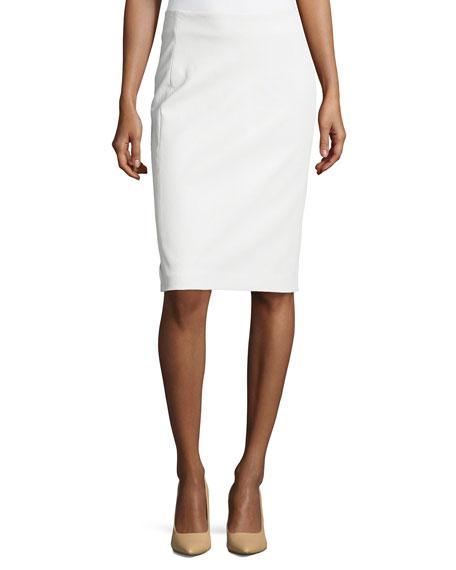 diane furstenberg lambskin leather pencil skirt white